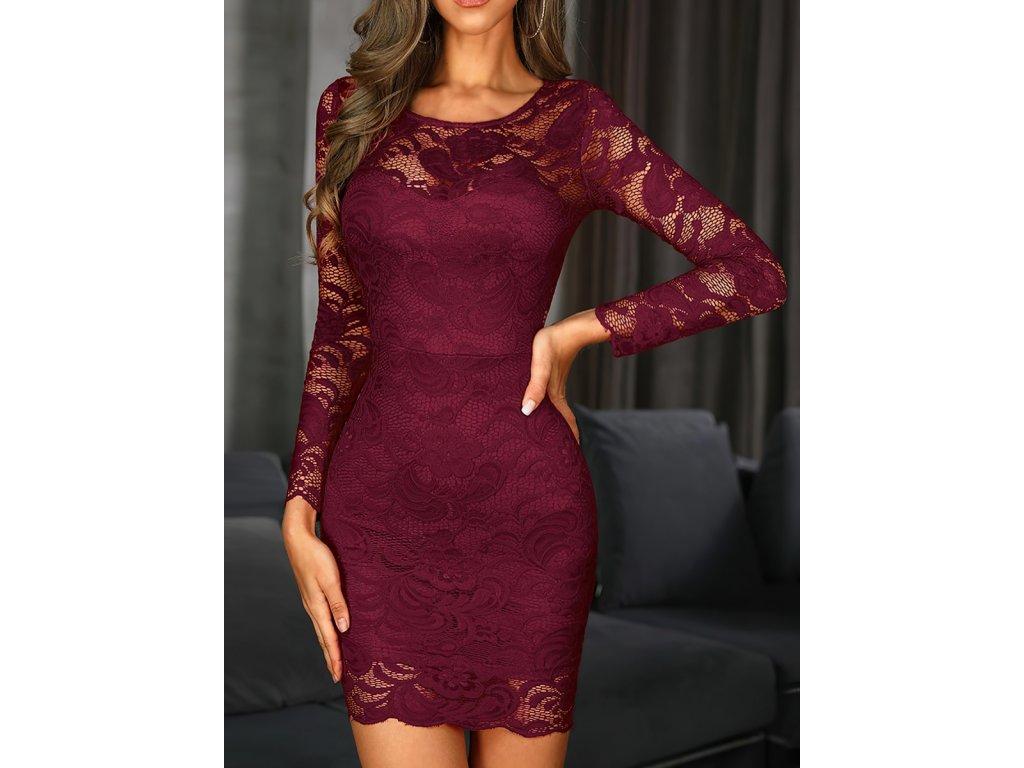 Sexy šaty mini krajkové bordó VITA7 zpředu 1