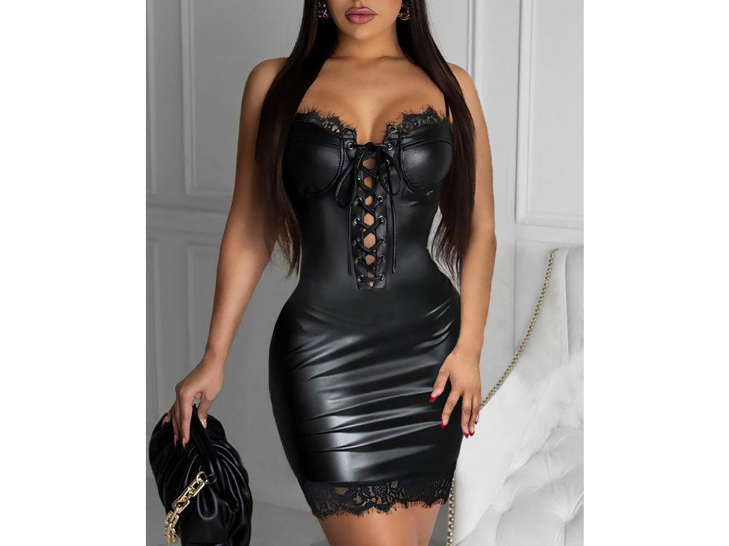 Sexy šaty mini lesklé černé MONA3 zpředu 2