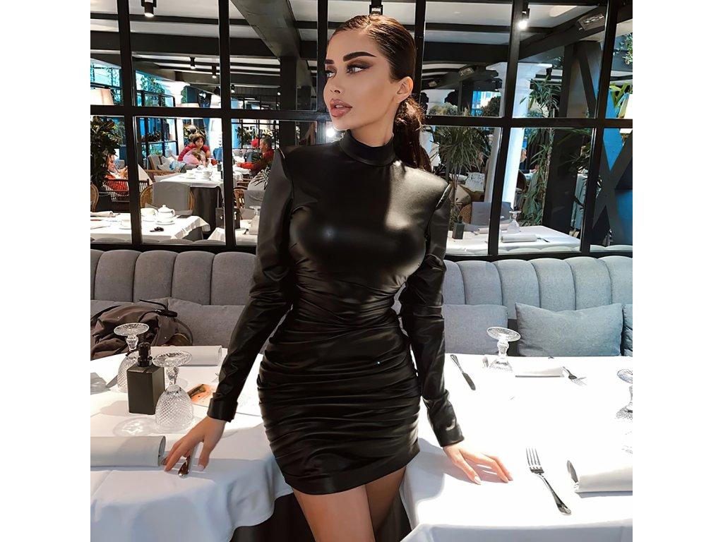 Sexy šaty střední lesklé černé MONA21 zpředu 6