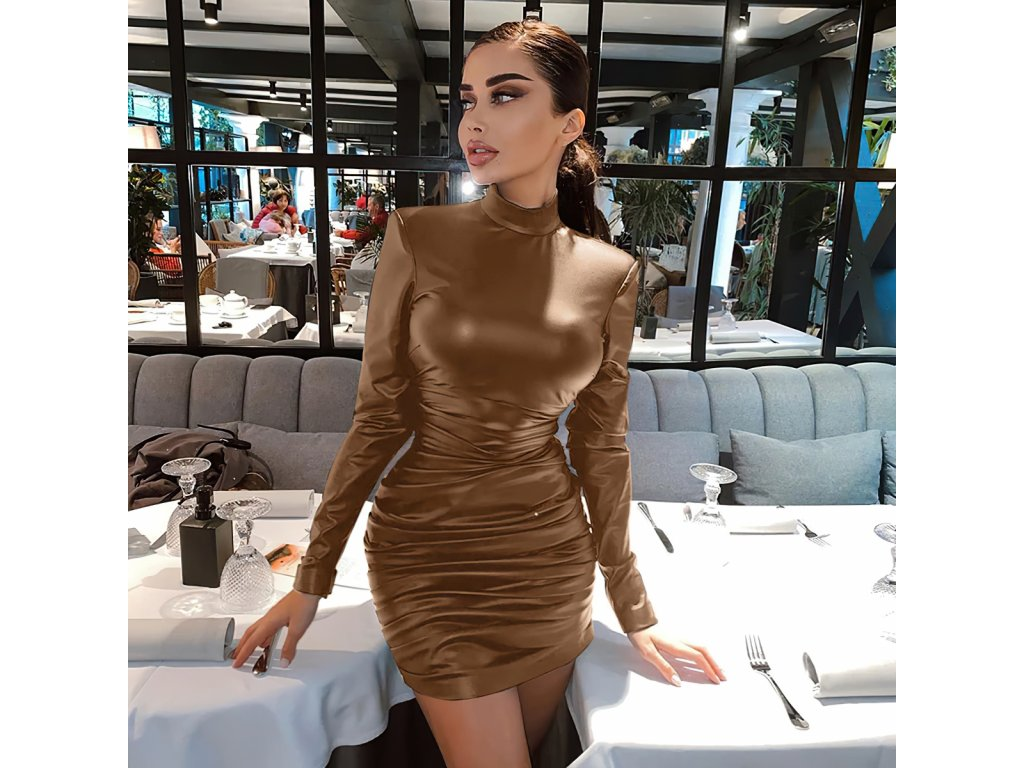 Sexy šaty střední lesklé hnědé MONA22 zpředu 1