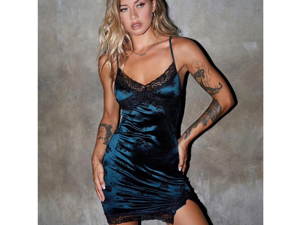 Sexy šaty mini lesklé modré NOVA2 zpředu 2
