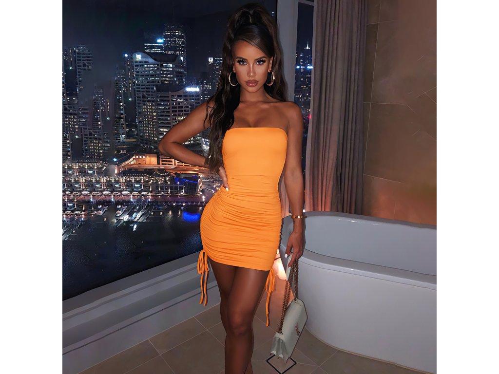 Sexy šaty mini oranžové DOKA11 zpředu 3