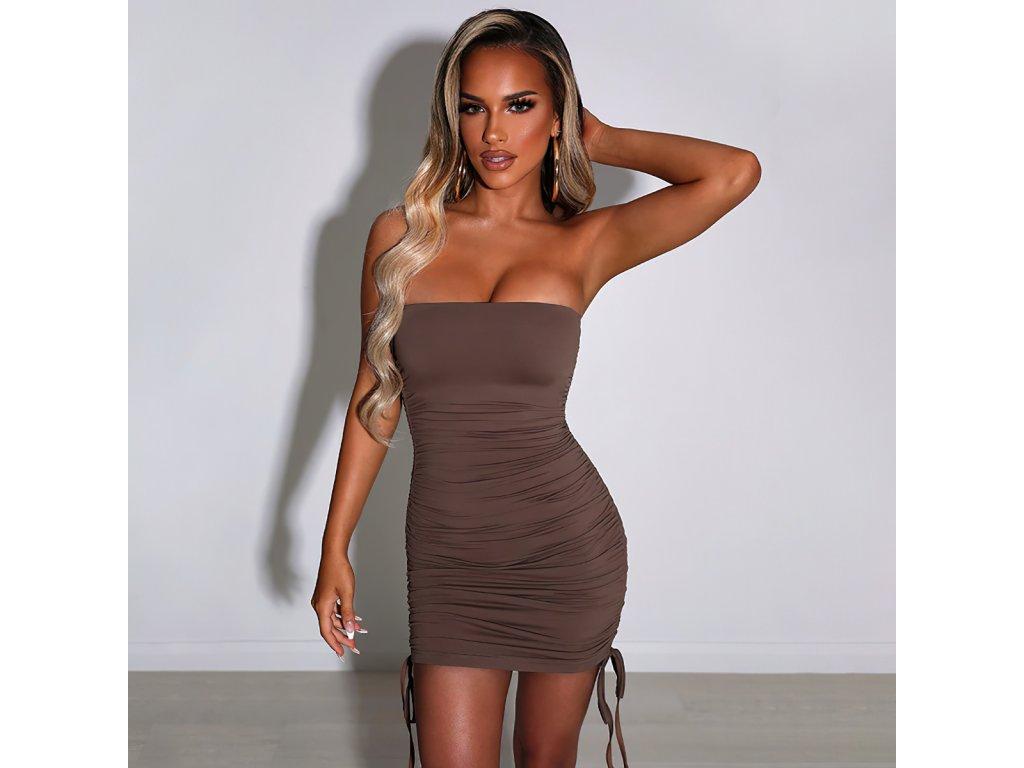 Sexy šaty mini hnědé DOKA12 zpředu 1