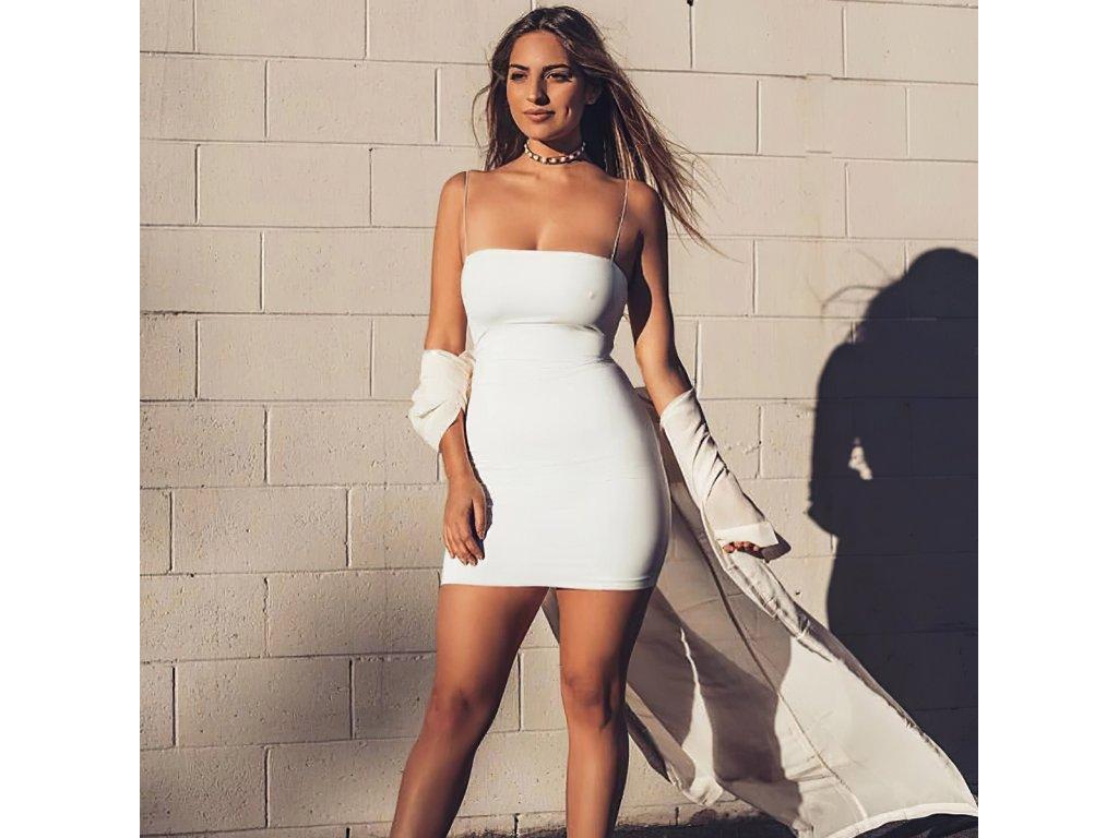 Sexy šaty mini bílé DOKA22 zpředu 1