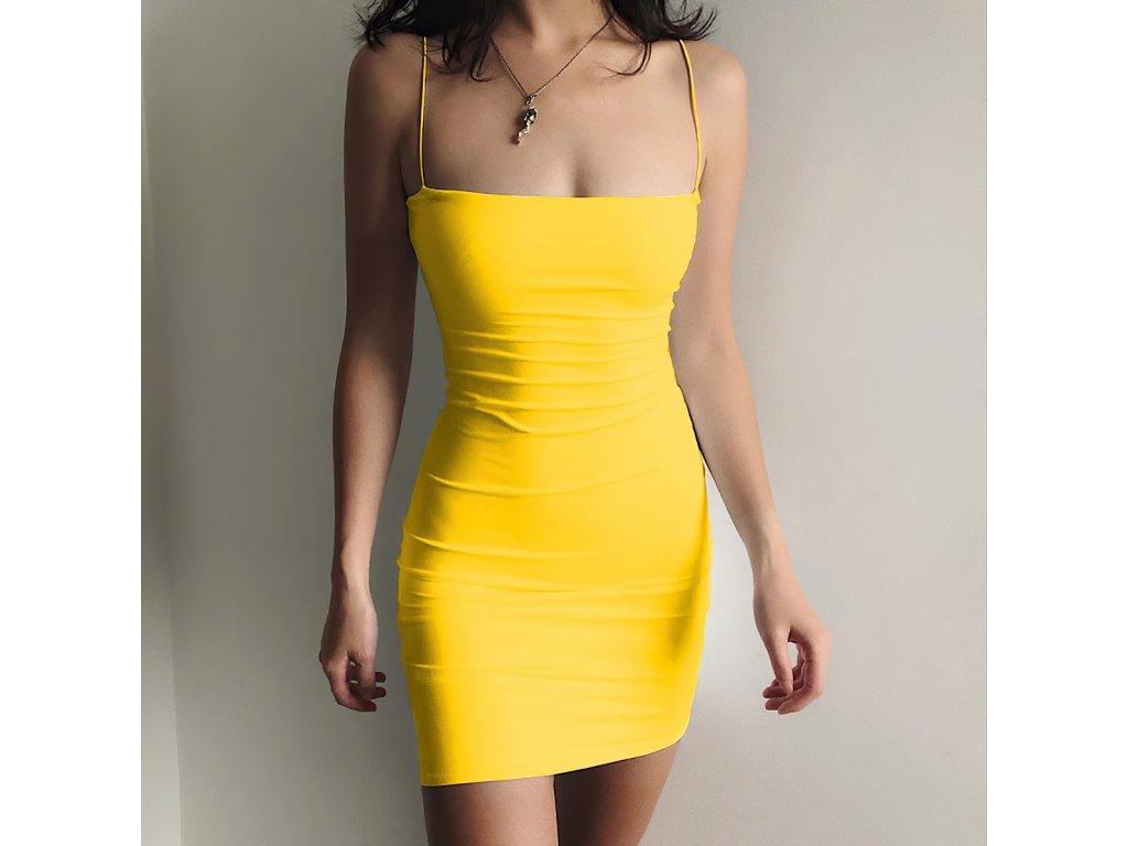 Sexy šaty mini žluté DOKA23 zpředu 1