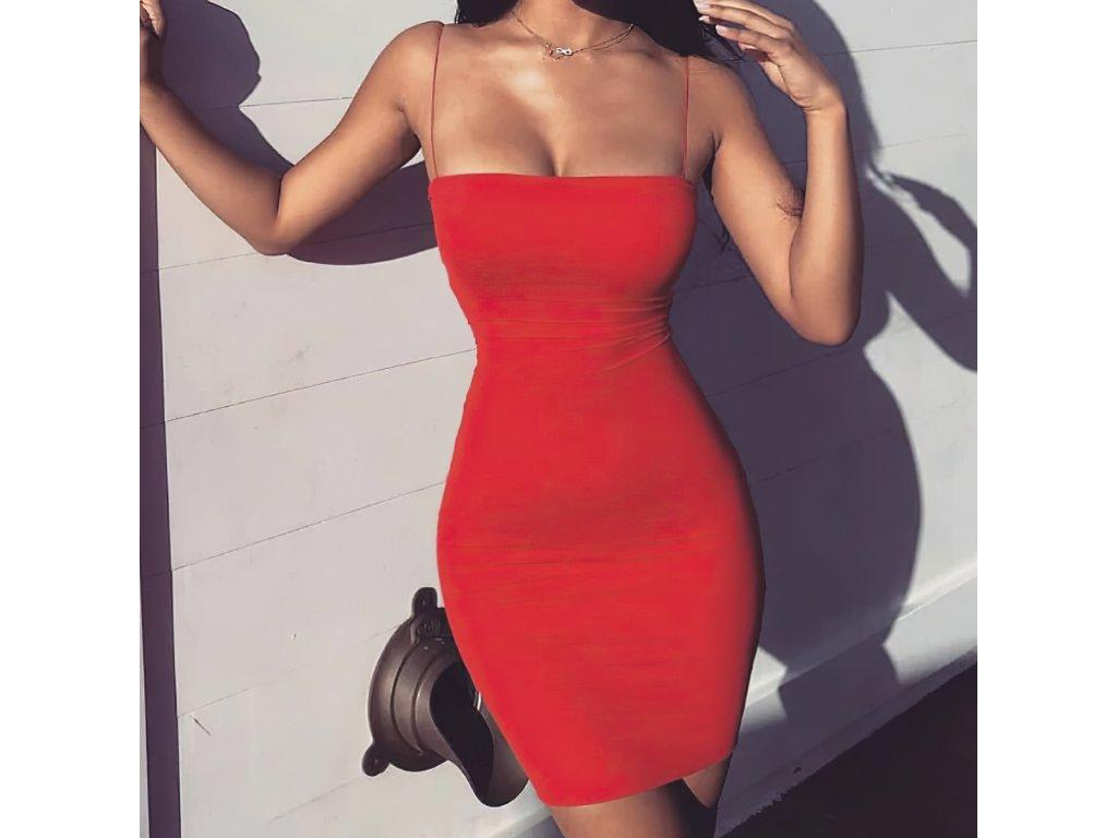 Sexy šaty mini červené DOKA24 zpředu 2