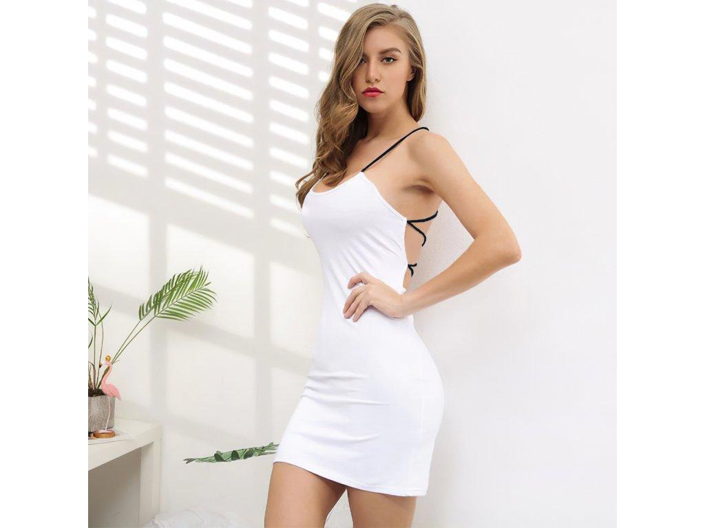 Sexy šaty mini bílé DOKA32 zpředu 1