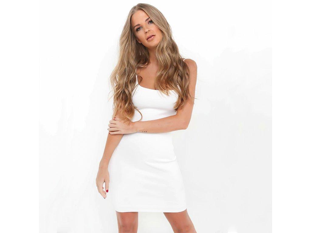 Sexy šaty mini bílé DOKA42 zpředu 1