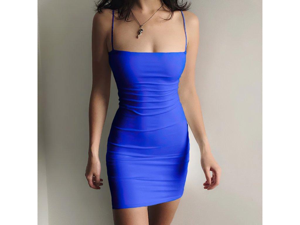 Sexy šaty mini středně modré DOKA25 zpředu 1