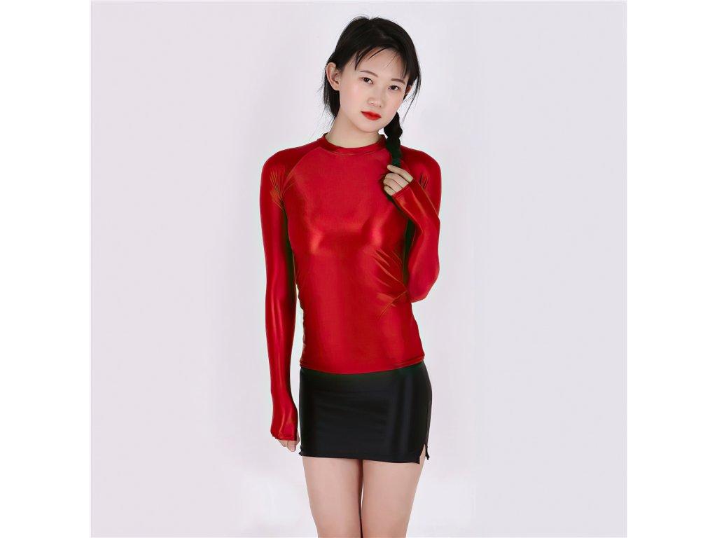 Sexy top lesklý červený DIDA23 zpředu 1