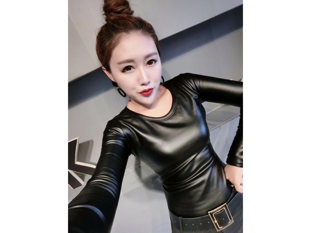 Sexy top lesklý černý DIDA11 zpředu 1