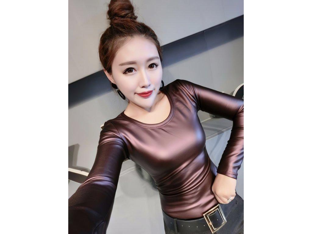 Sexy top lesklý bronzová DIDA12 zpředu 6