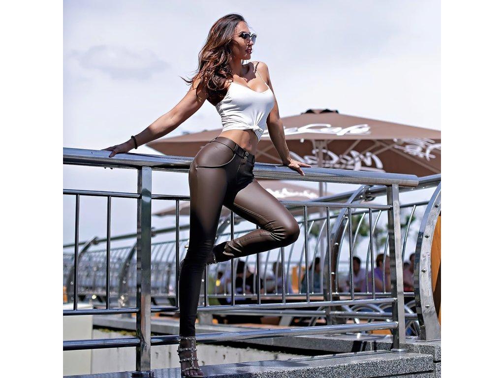Sexy kalhoty matné hnědé LILA3 zpředu 2