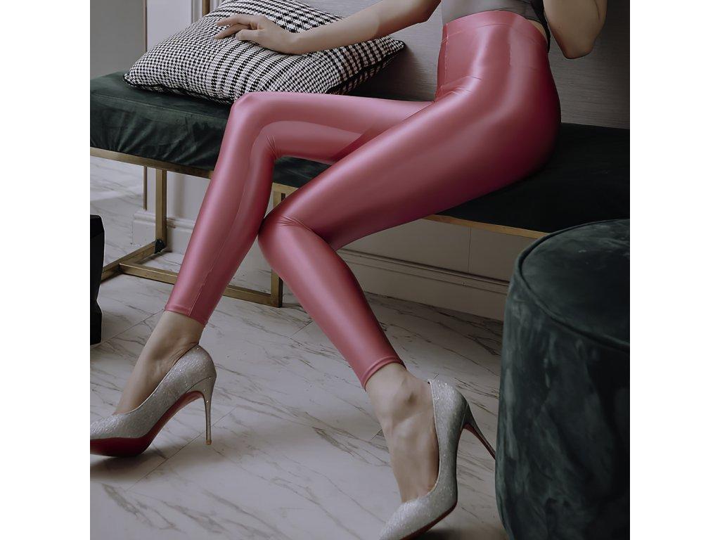 Sexy legíny lesklé růžové RAPA5 zpředu 1