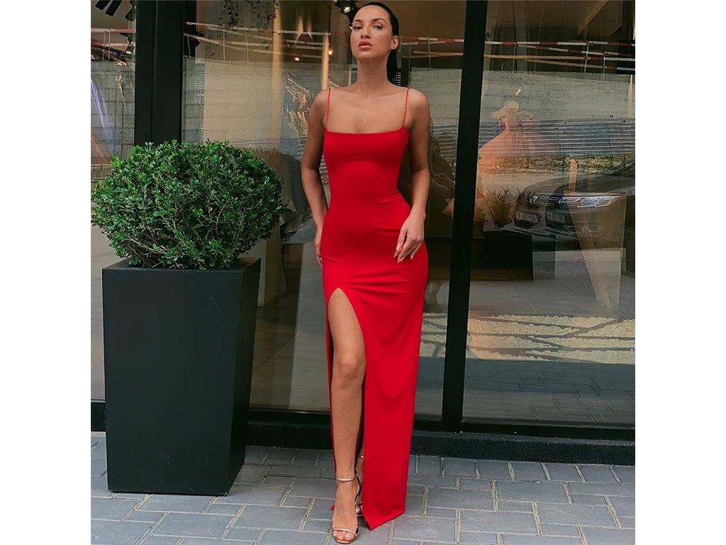 Sexy šaty dlouhé červené AVOA1 zpředu 3