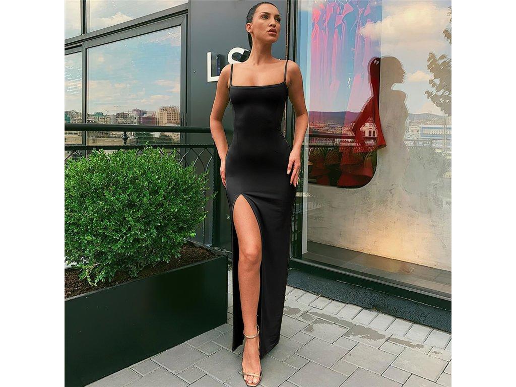 Sexy šaty dlouhé černé AVOA2 zpředu 1