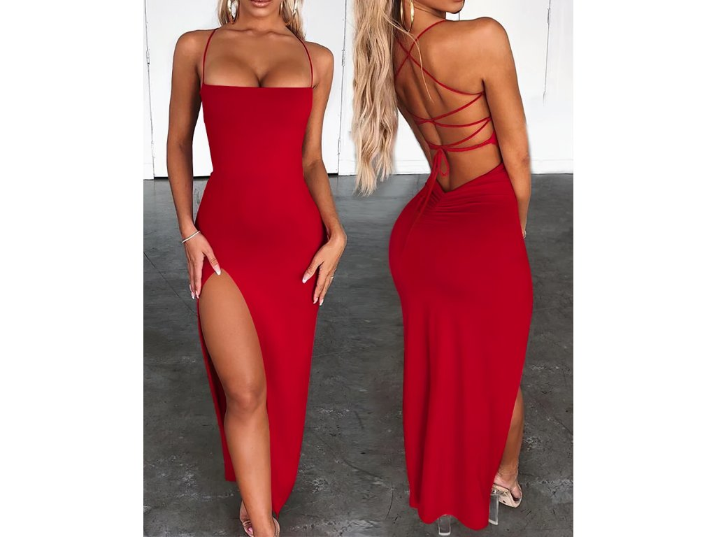Sexy šaty dlouhé červené AVOA3 zpředu zezadu 1
