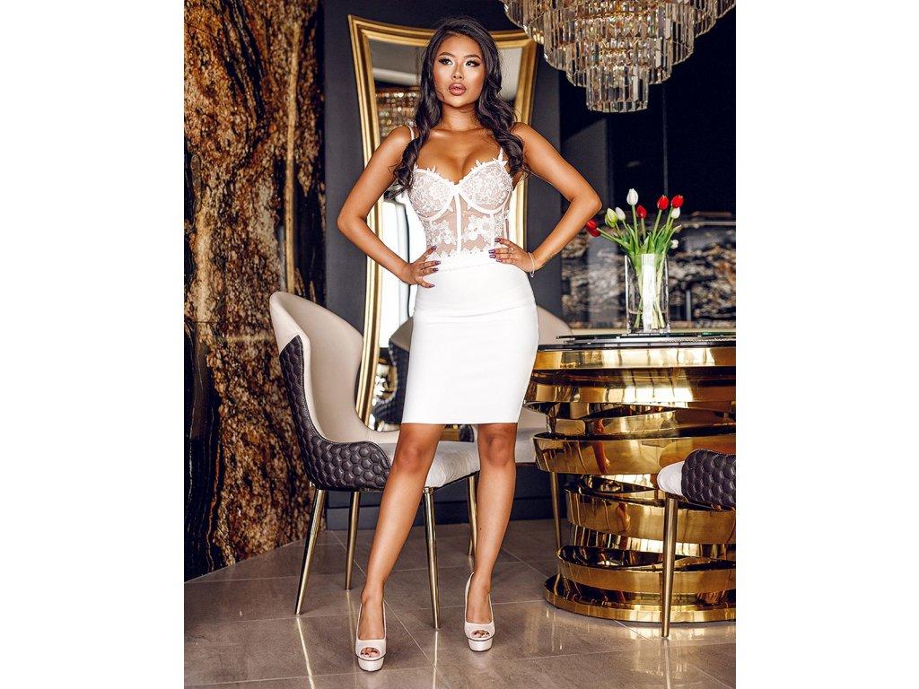 SEXY šaty mini bílé SIDA3 zpředu 1
