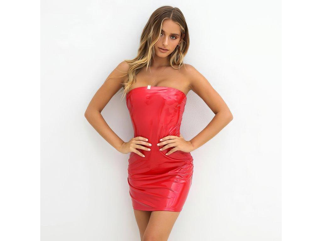 SEXY šaty lesklé mini LENA 10 zpředu 1