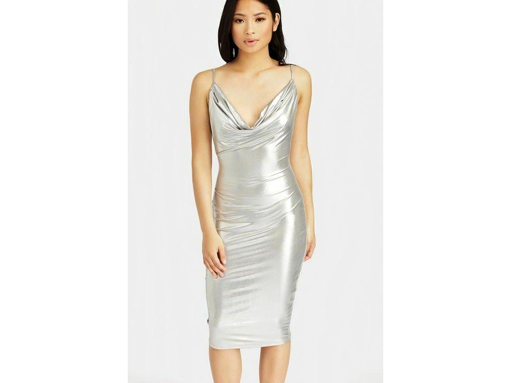 Sexy šaty stříbrné střední INNA 1 zpředu 1