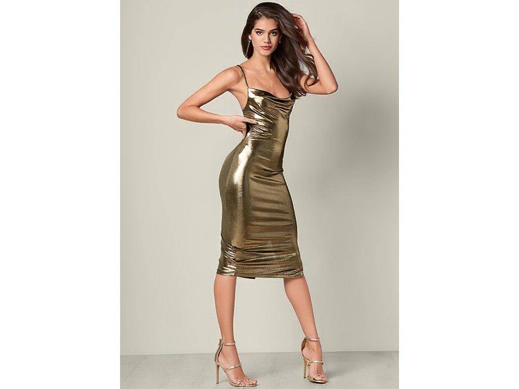 Sexy šaty lesklé dlouhé ELLA 2 zpředu