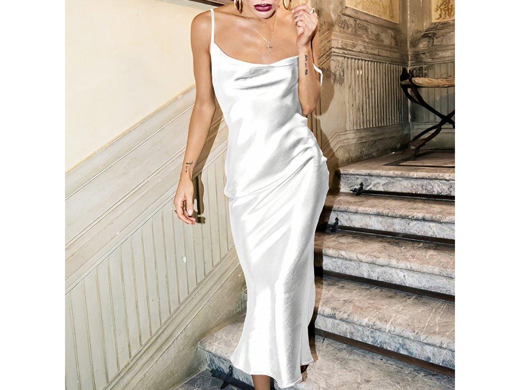 Sexy šaty lesklé dlouhé stříbrné ELLA 6 zpředu detail 1