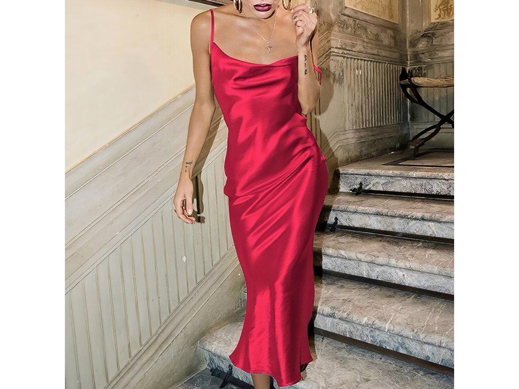 Sexy šaty dlouhé lesklé červené ELLA 8 zpředu detail