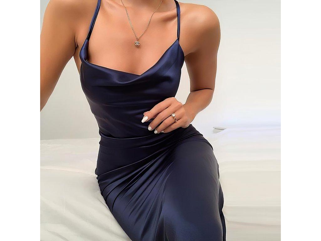 Sexy šaty lesklé střední modré INNA 1 zpředu detail