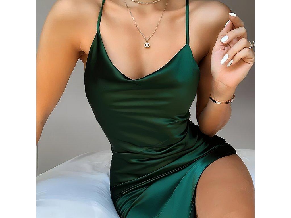 Sexy šaty lesklé střední zelené INNA 1 zpředu detail