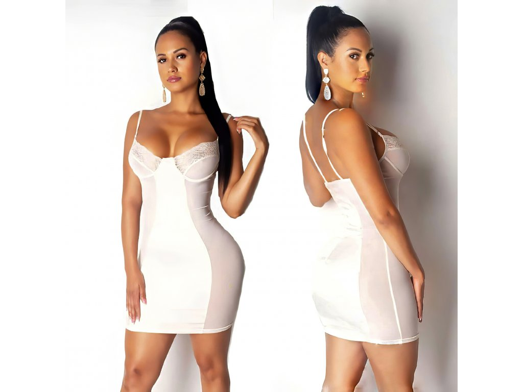 SEXY šaty lesklé mini LENA 6 bílé zpředu zezadu