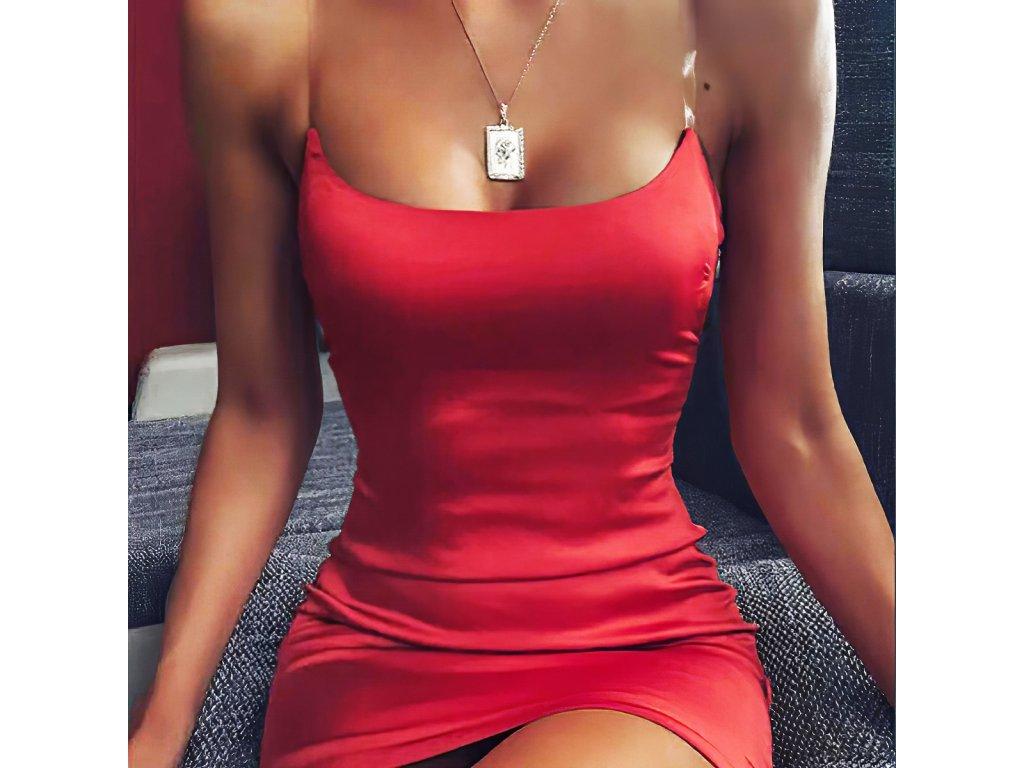Sexy šaty mini lesklé červené TARA 5 detail