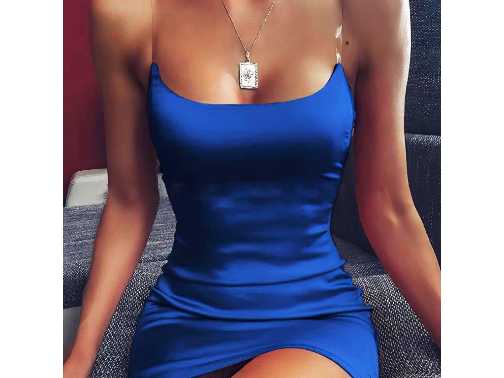 Sexy šaty mini lesklé modré TARA 6 detail