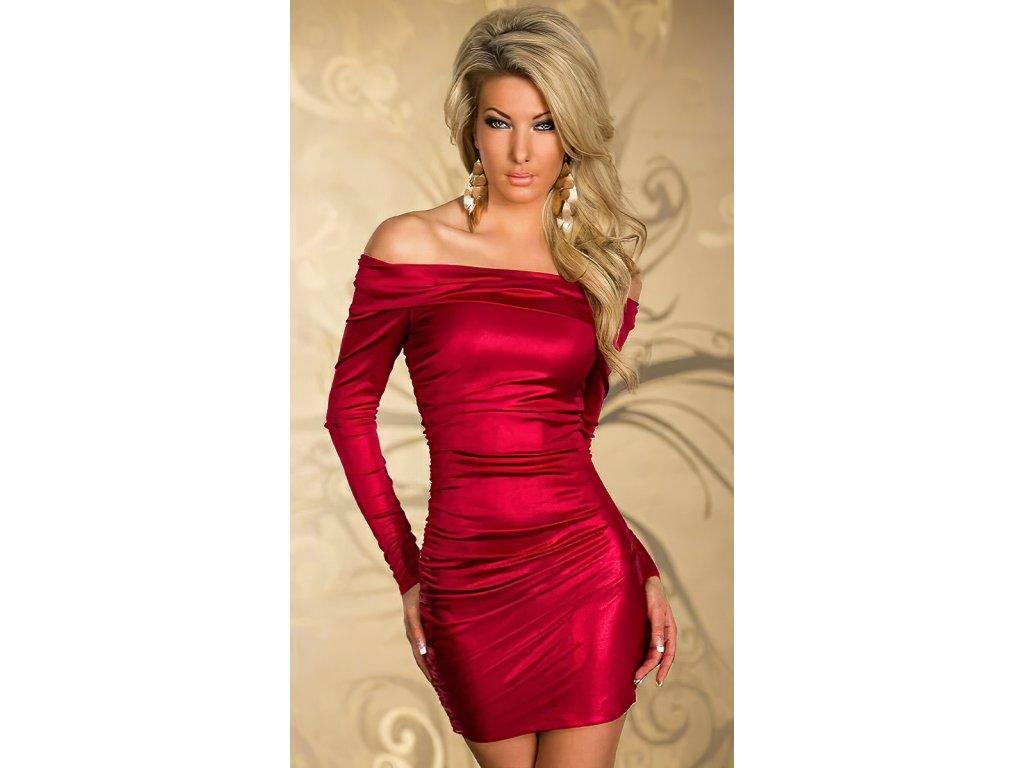 Sexy šaty mini lesklé červené INNA 24