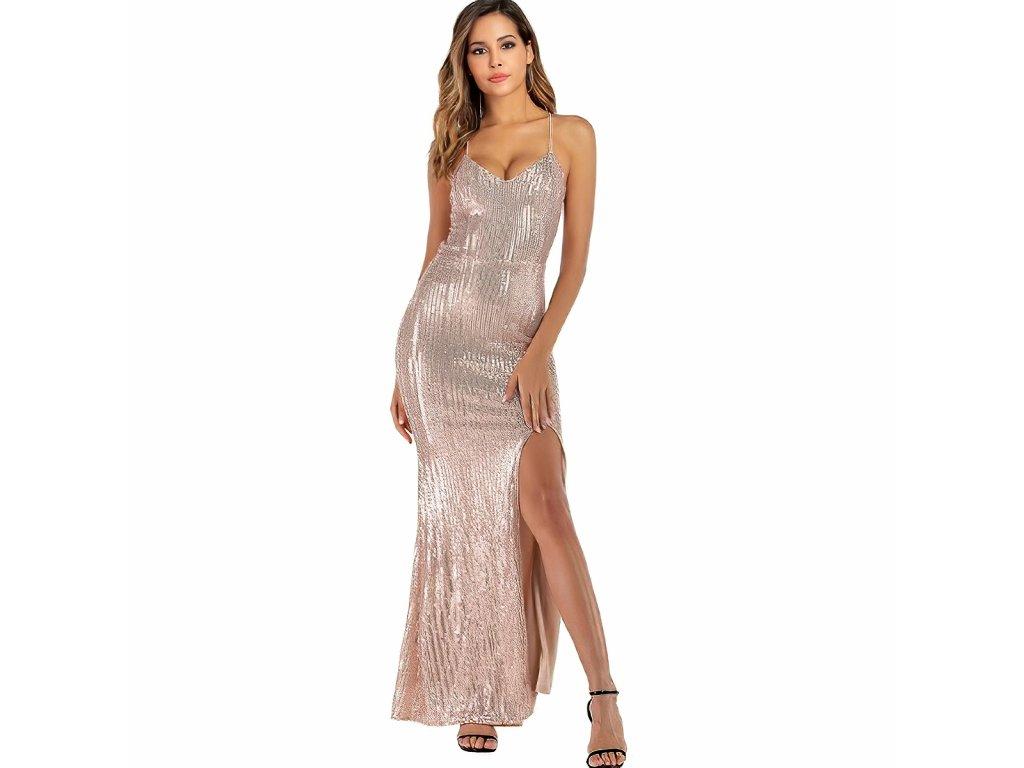 Sexy šaty dlouhé třpitivé bronzové TINA 6