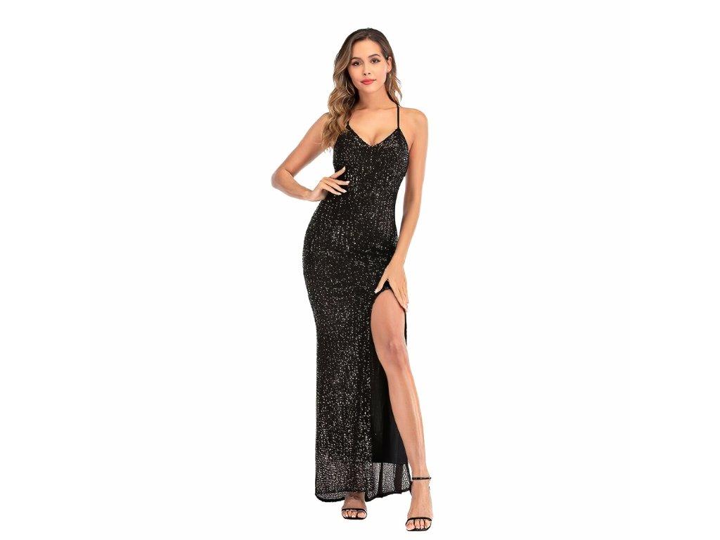 Sexy šaty dlouhé třpitivé černé TINA 7 zpředu