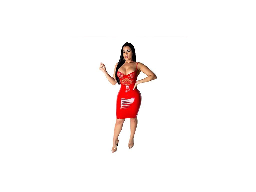 SEXY šaty mini lesklé červené - ONNA13