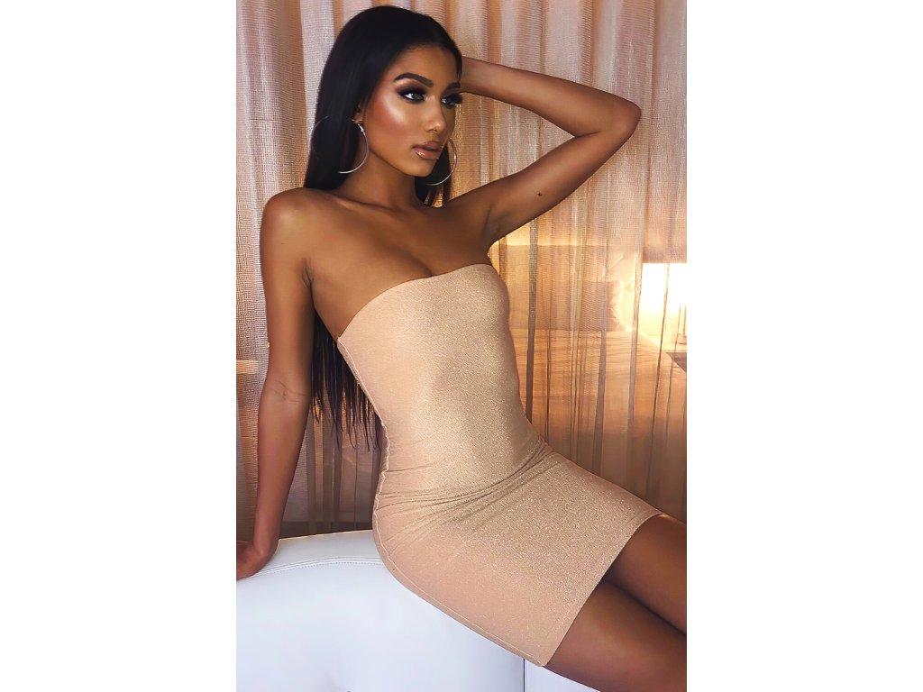 Sexy šaty mini třpitivé béžové SIMA 4 zpředu 2