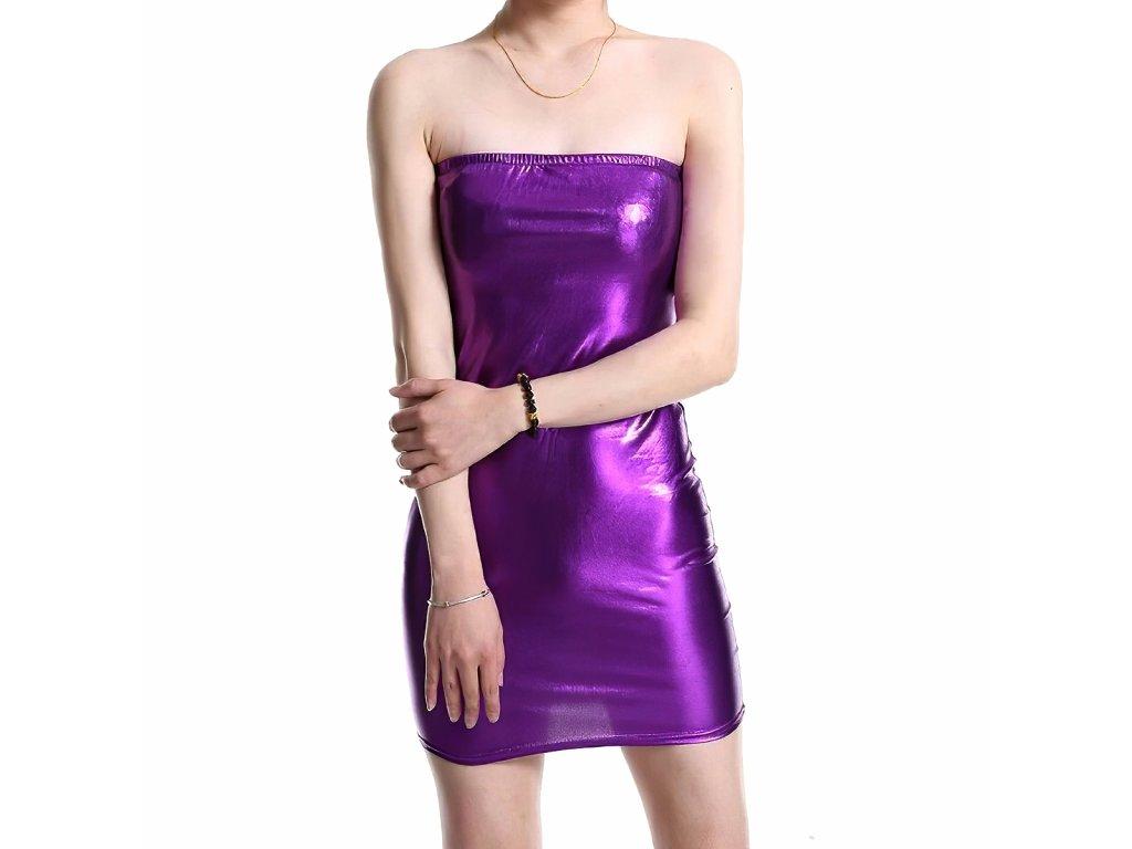 Sexy šaty mini lesklé fialové INNA 40 zpředu 1