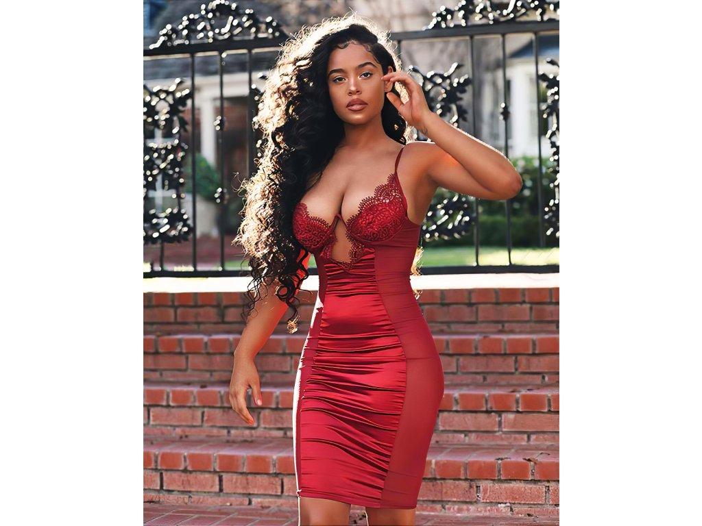 Sexy šaty střední lesklé červené LENA 5 zpředu 1
