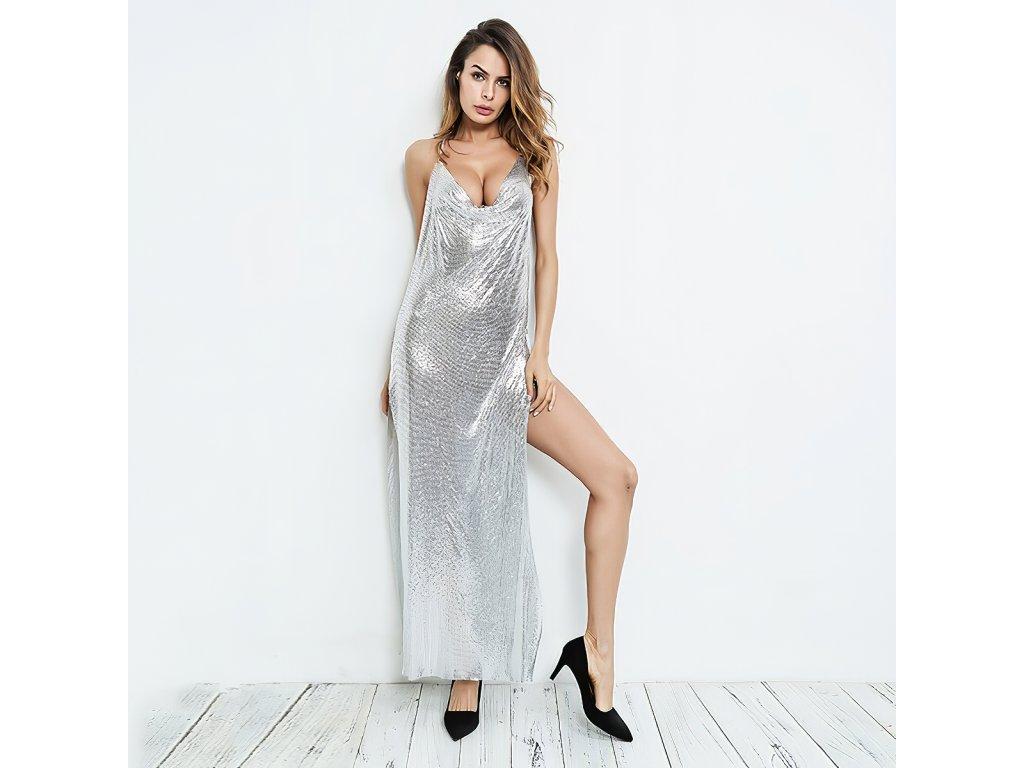 Sexy šaty dlouhé třpitivé stříbrné TINA 9 zpředu 1