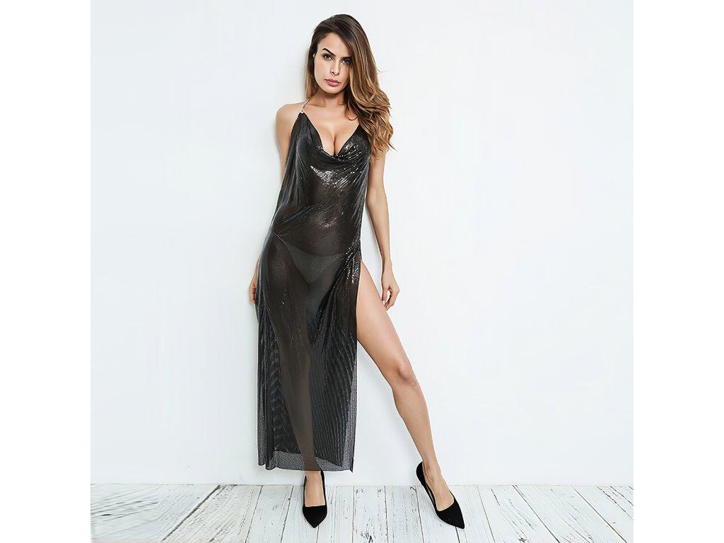 Sexy šaty dlouhé třpytivé černé TINA 11 zpředu 1