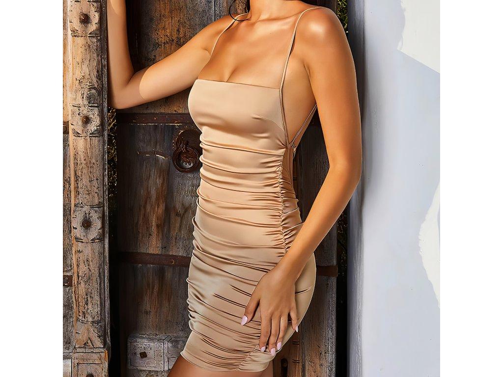 Sexy šaty mini lesklé zlaté TARA 13 zboku 1