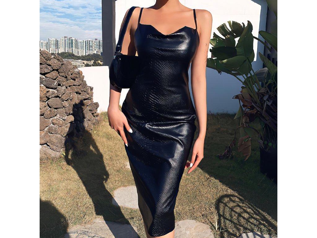 Sexy šaty střední lesklé černé MONA 5 zpředu 1