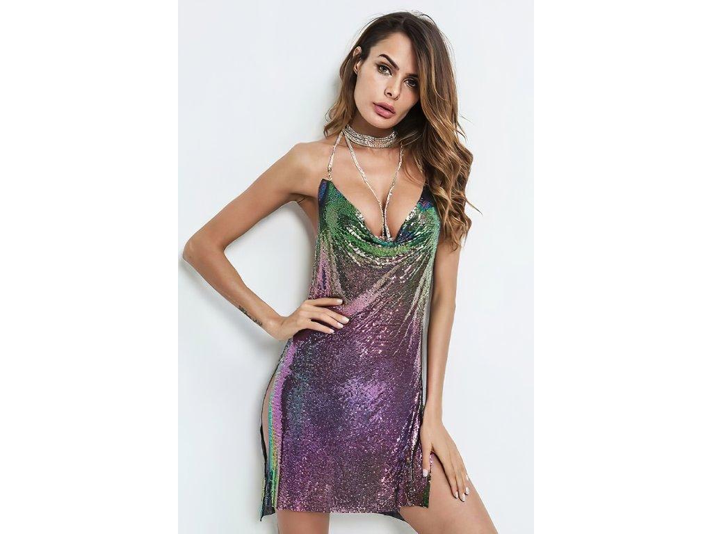 Sexy šaty mini lesklé fialové INNA 17 zpředu 1