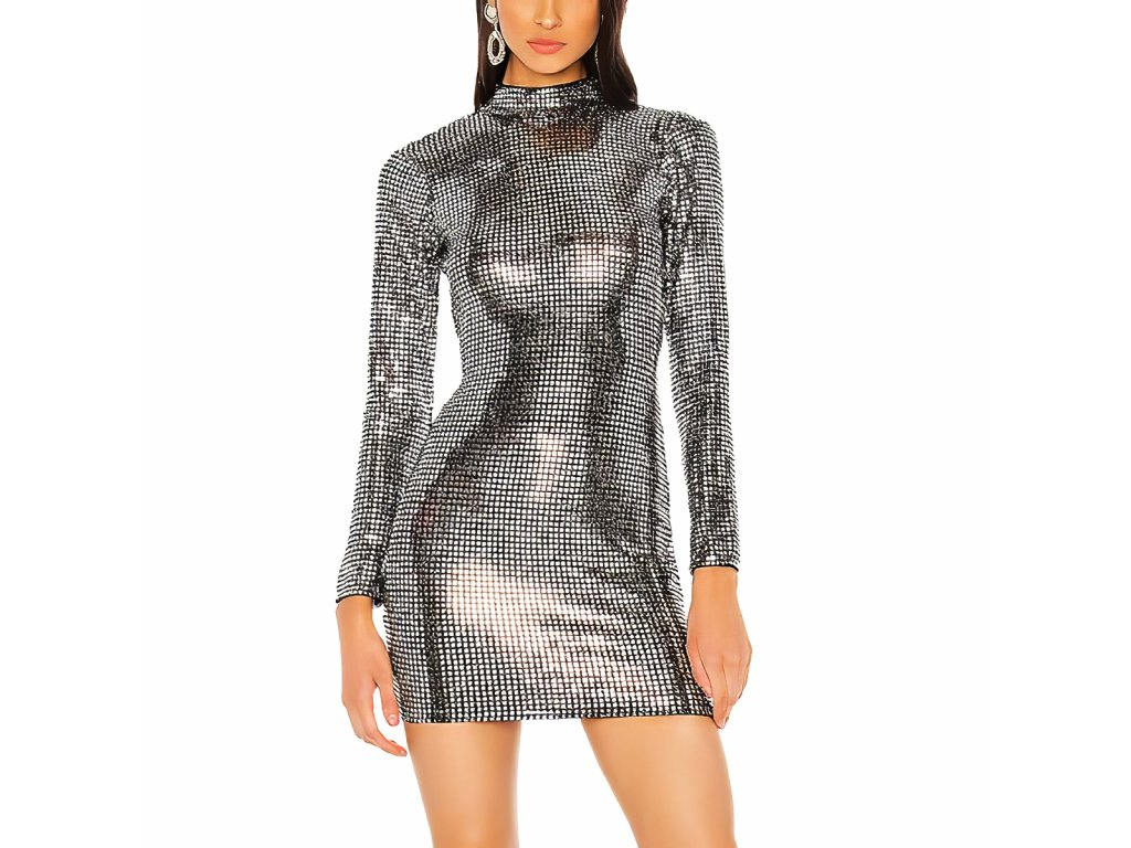 Sexy šaty mini lesklé stříbrné INNA 27 zpředu 2