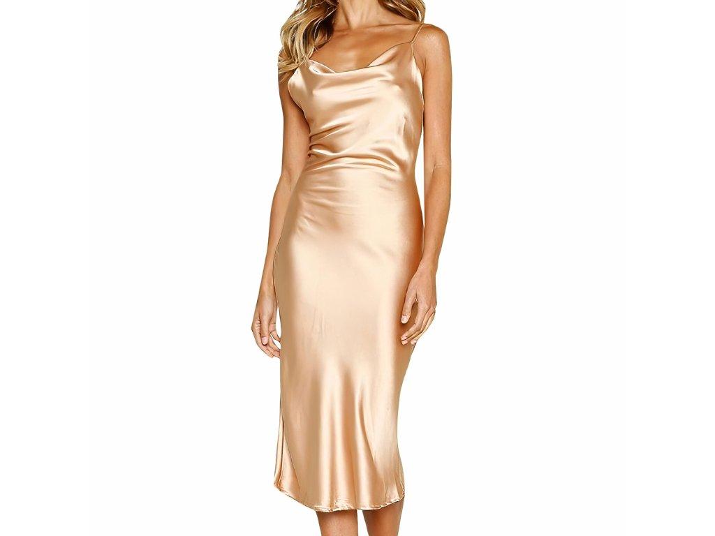 Sexy šaty střední lesklé zlaté ELLA 10 zpředu.jpg