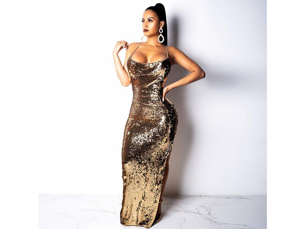 Sexy šaty dlouhé třpytivé zlaté TINA 8 zpředu 1