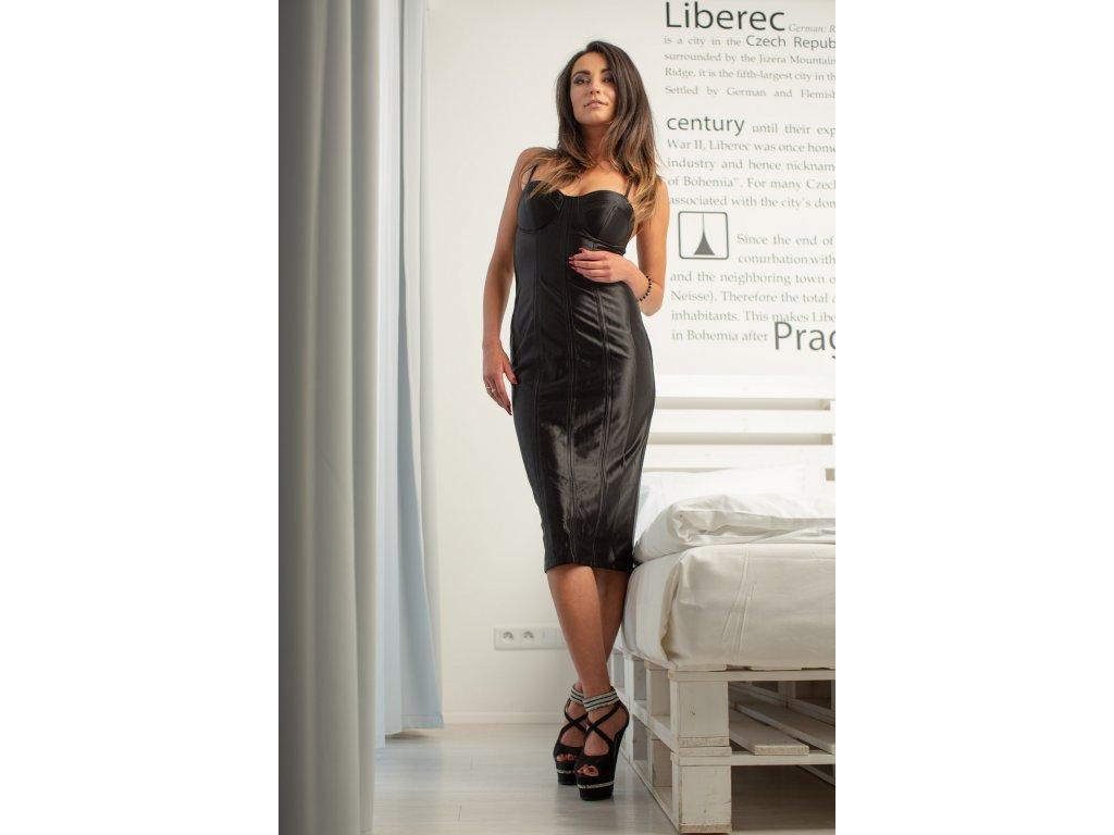 Sexy šaty střední lesklé černé MONA 12 zpředu zezadu