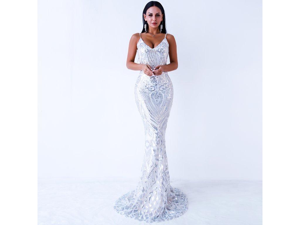 Sexy šaty dlouhé třpytivé stříbrné MILA 3 zpředu