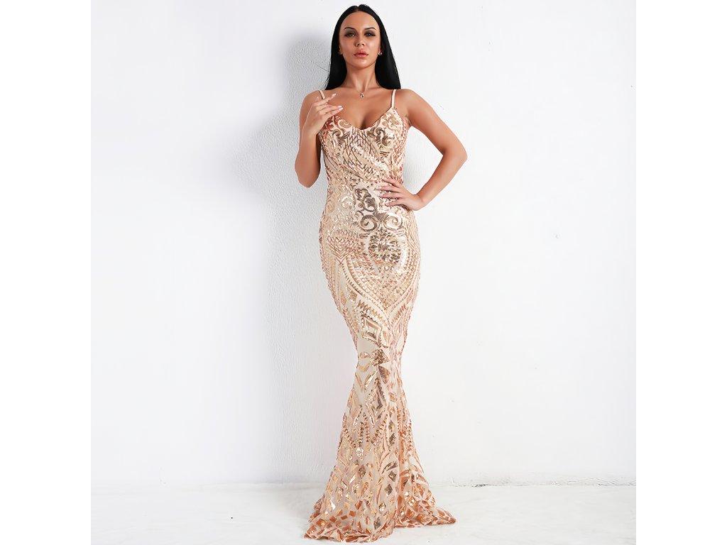 Sexy šaty dlouhé třpytivé zlaté MILA 4 zpředu